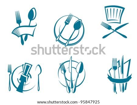 Restaurant menu icons and symbols set for food industry design, such  a logo - stock photo