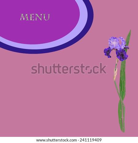 restaurant menu with a mosaic flower iris - stock photo