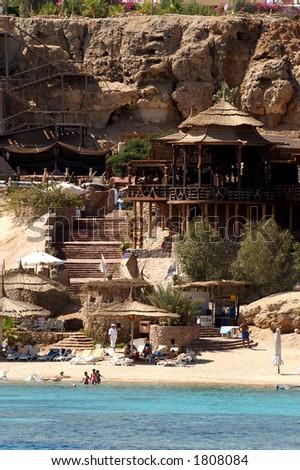 restaurant on a beach - stock photo