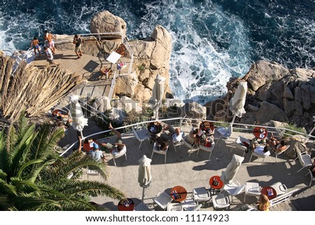 Restaurant on a cliff in old town of Dubrovnik - stock photo