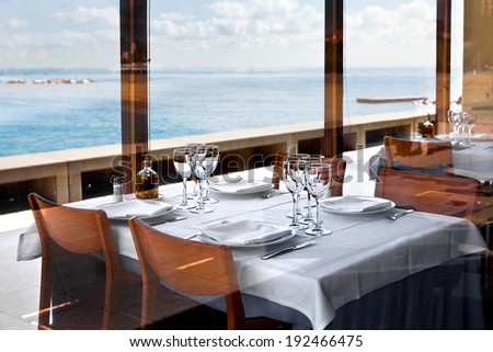 Restaurant on the beach. Early morning. - stock photo