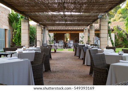 restaurant on the lawn with columns