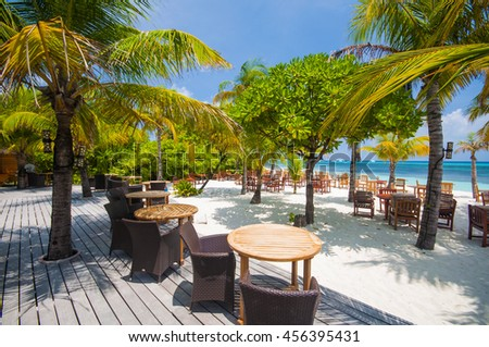 Restaurant on the tropical beach, Maldives
