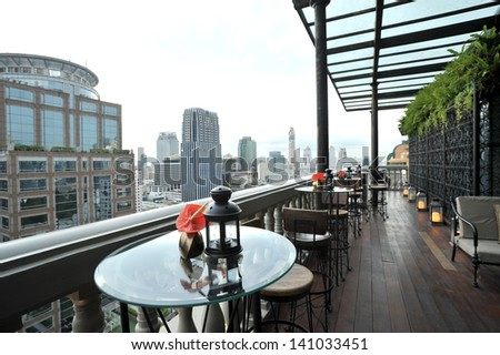 restaurant on tower - stock photo
