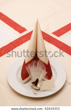 Restaurant plate on table with served settings - stock photo