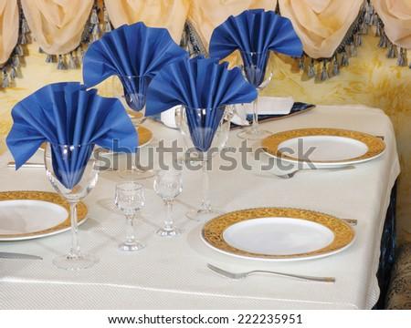 Restaurant prepared table  - stock photo