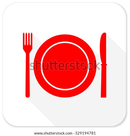 restaurant red flat icon with long shadow on white background - stock photo