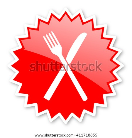 restaurant red tag, sticker, label, star, stamp, banner, advertising, badge, emblem, web icon