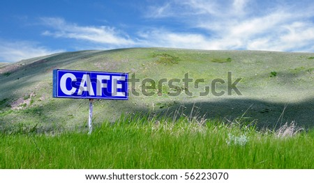Restaurant road sign on I-15 in Montana. - stock photo