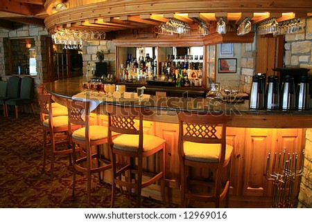 Restaurant's lighted bar area. - stock photo