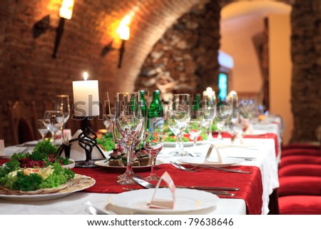 Restaurant's table prepared for celebrating event - stock photo