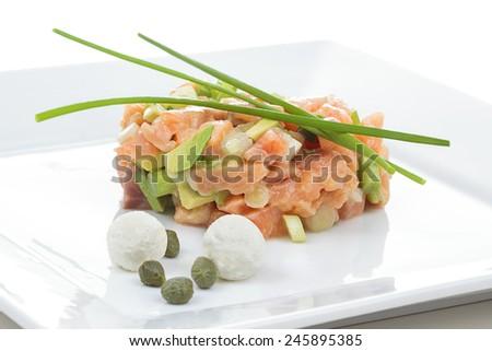 restaurant salmon tartare - stock photo