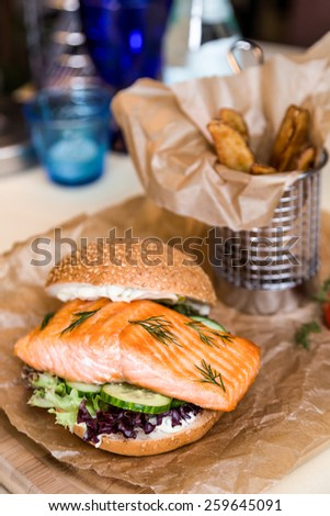 Restaurant serving dish for child`s menu - stick potatos roast free on white background - stock photo