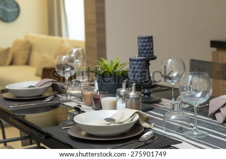 restaurant set at Luxury Interior kitchen room