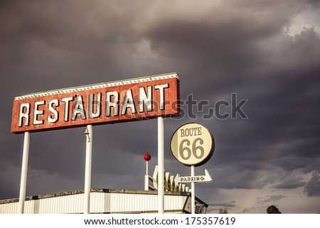 Restaurant sign along historic Route 66 in Texas. Vintage Processing. - stock photo