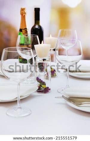 Restaurant table setting - stock photo