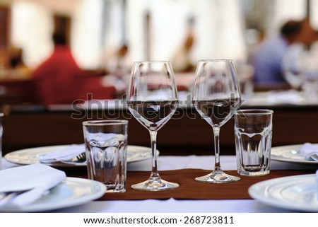 Restaurant table setting glasses background