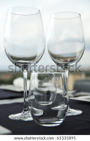 Restaurant table,Wine glass and water glass, bright background. - stock photo