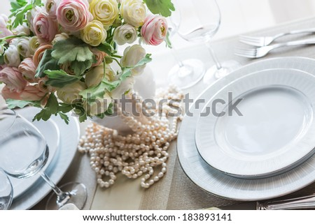 Restaurant table witch empty glasses and plates