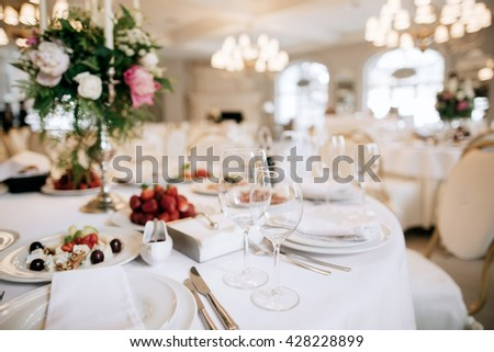 Restaurant table with food. Catering service.  Wedding celebration, decoration. Dinner time, lunch. - stock photo