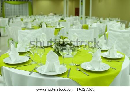 Restaurant tables arranged - stock photo