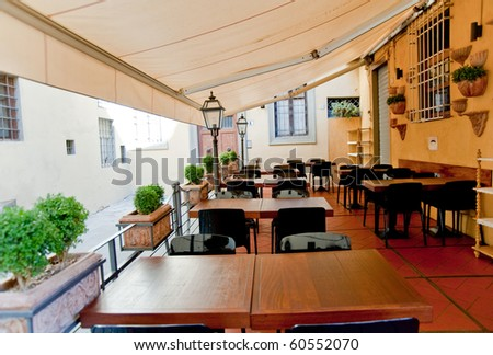 Restaurant terrace in Florence Italy - stock photo