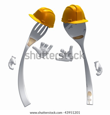 Restaurant under construction sign symbol of spoon and fork illustration - stock photo