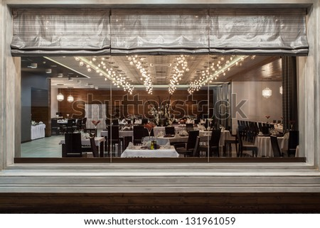 restaurant view through a huge window - stock photo