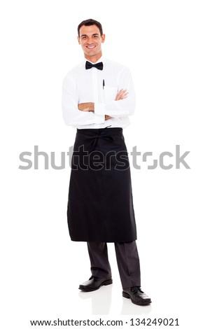 restaurant waiter full length portrait on white - stock photo