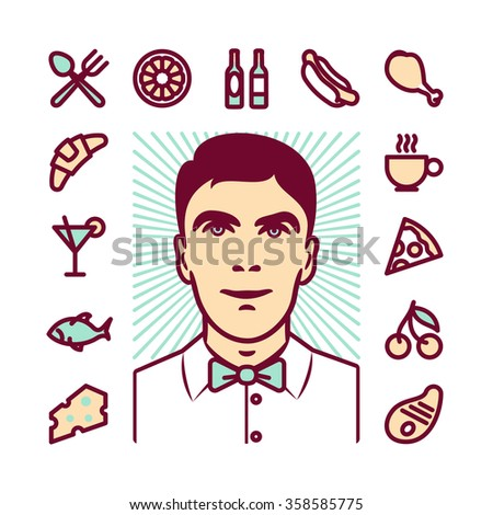 Restaurant waiter Icons for web and mobile. Modern minimalistic flat design elements of various meals, drinks, food service - stock photo