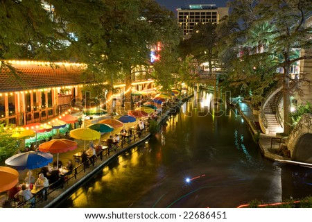 Restaurants along San Antonio riverwalk