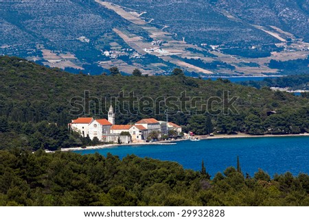 Restaurating old medieval town on island Korcula. Croatia, Dalmatia region, Europe. - stock photo