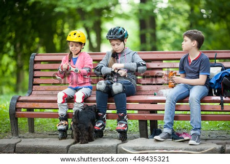Resting after skating - stock photo