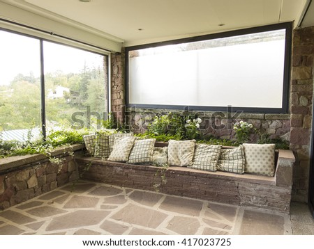 Resting place in a country rural house - stock photo