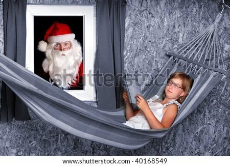 Resting schoolgirl with opened book on a hammock in living room and traditional Santa Claus looking in window. Great for Christmas brochures and advertisements - stock photo