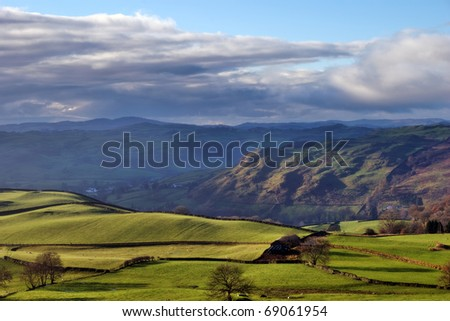 Reston Scar and rolling English Countryside near Staveley in the English Lake District - stock photo