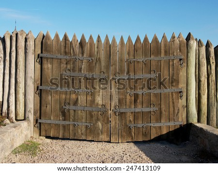 restorations wooden gate of the military strengthening of the Zaporozhye Cossacks, 16 century, Ukraine - stock photo