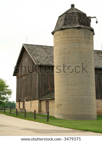 Restored Barn & Silo - stock photo