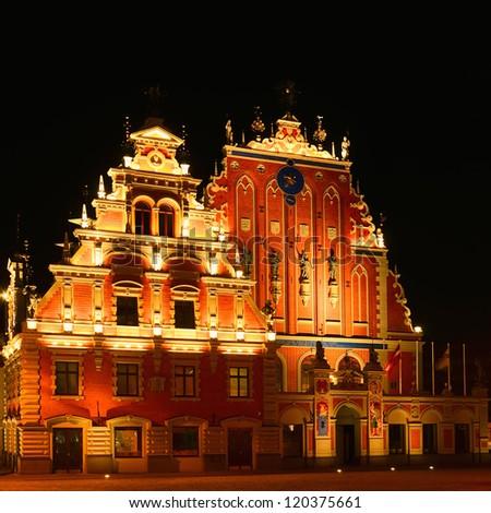 Restored Blackheads House In The Old Riga. Latvia. - stock photo