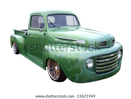 Restored Green Truck isolated with clipping path
