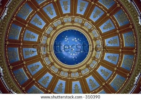 Restored hand painted domed ceiling victorian mansion.  Intense cobalt and lapis blues. - stock photo