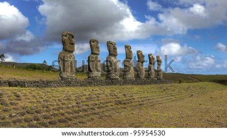 Restored moai at Easter Island