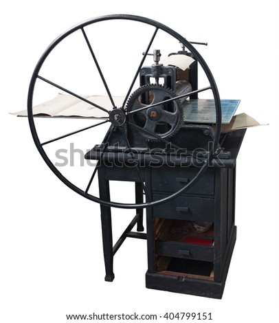 Restored old letterpress at work. Clipping path included. - stock photo