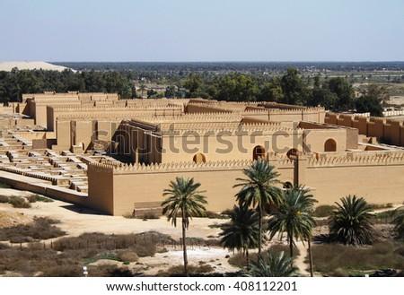 Restored ruins of ancient Babylon, Iraq. - stock photo