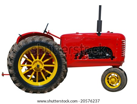 Restored Vintage Massey Harris 101 Junior isolated with clipping path - stock photo