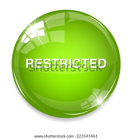 restricted button - stock photo