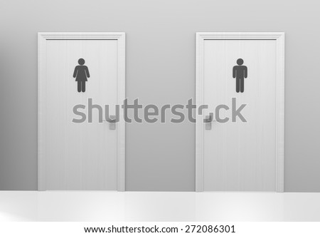Restroom doors to public toilets marked with icons for men and women - stock photo