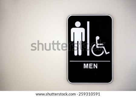 restroom (toilet) sign on wall  surface, healthy environment - stock photo