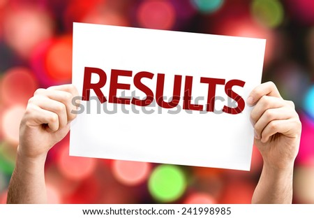 Results card with colorful background with defocused lights - stock photo