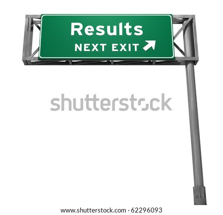 Results Freeway Exit Sign - stock photo